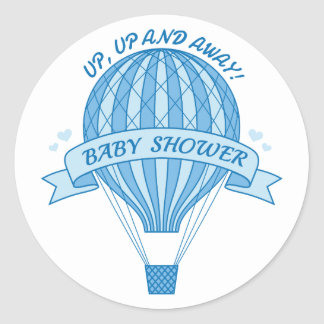 Up and away, blue hot air balloon baby shower classic round sticker