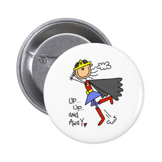 Up and Away Girl Hero 2 Inch Round Button