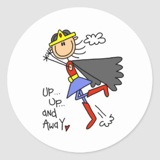 Up and Away Girl Hero Round Stickers