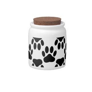 Up And Down Dog Paw Prints Candy Dish