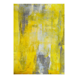 'Up and Down' Grey and Yellow Abstract Art Poster