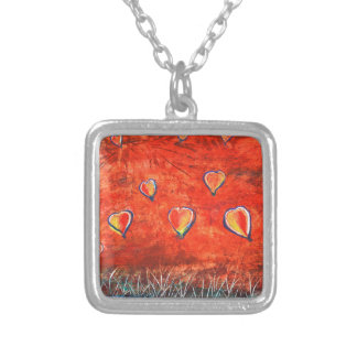 Up and Up vibrant colorful art Silver Plated Necklace