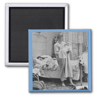 Up at 3 am - Vintage Stereoview 2 Inch Square Magnet