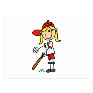 Up at Bat Girl Baseball Player Tshirts Postcard