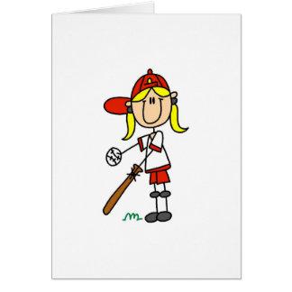 Up At Bat Girl Stick Figure Baseball Gifts Card