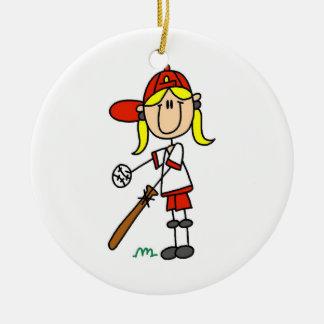 Up At Bat Girl Stick Figure Baseball Gifts Ceramic Ornament