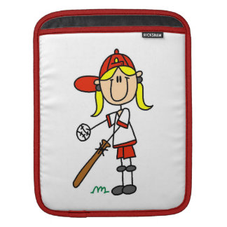 Up At Bat Girl Stick Figure Baseball Gifts Sleeves For iPads