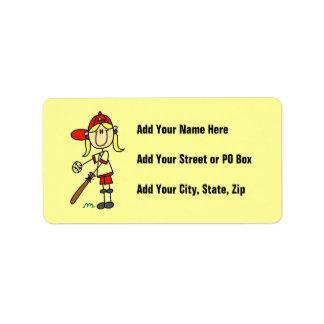 Up At Bat Girl Stick Figure Baseball Gifts Address Label