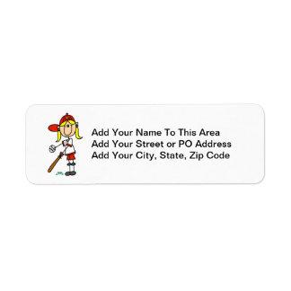 Up At Bat Girl Stick Figure Baseball Gifts Return Address Label