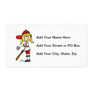 Up At Bat Girl Stick Figure Baseball Gifts Label