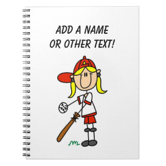 Up At Bat Girl Stick Figure Baseball Gifts Notebooks