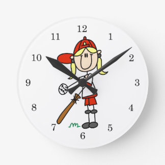 Up At Bat Girl Stick Figure Baseball Gifts Round Clock