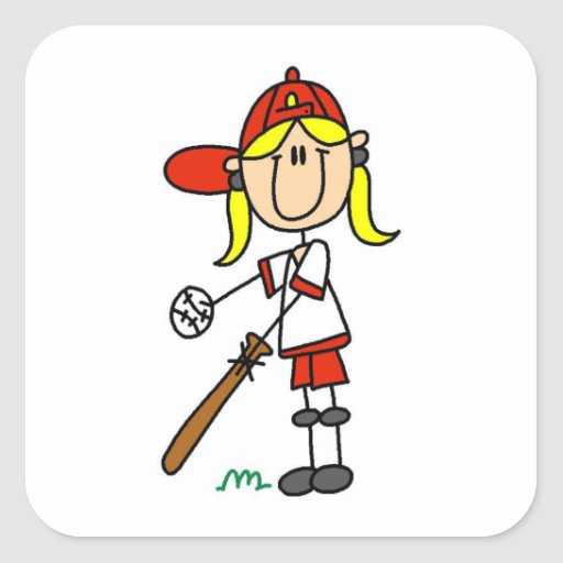 Up At Bat Girl Stick Figure Baseball Gifts Square Stickers