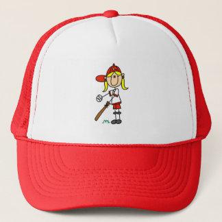 Up At Bat Girl Stick Figure Baseball Gifts Trucker Hat