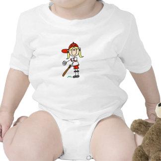 Up At Bat Girl Stick Figure Baseball Gifts T-shirts