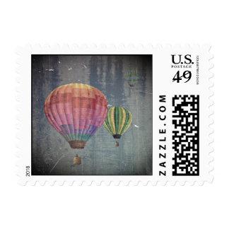 Up & Away/Hot Air Balloons Vintage Retro Art Stamp
