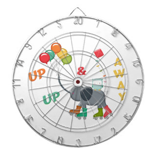 Up & Away Rollerskating Elephant Balloons Dartboard With Darts