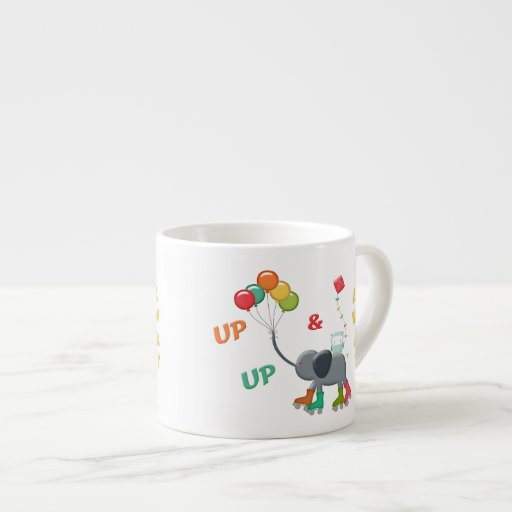 Up Amp Away Rollerskating Elephant Balloons Espresso Cup