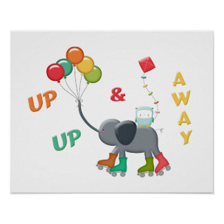 Up & Away Rollerskating Elephant Balloons Poster