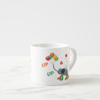 Up & Away Rollerskating Elephant Balloons Espresso Cups