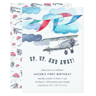 Up & Away | Vintage Airplane Birthday Party Invite