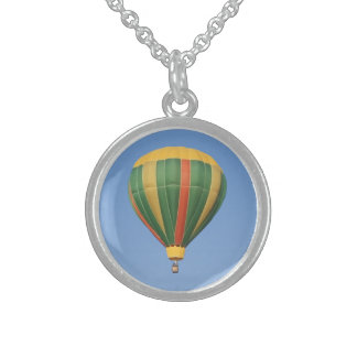 Up Early Hot Air Balloon Round Pendant Necklace