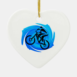 UP FOR RIDING Double-Sided HEART CERAMIC CHRISTMAS ORNAMENT