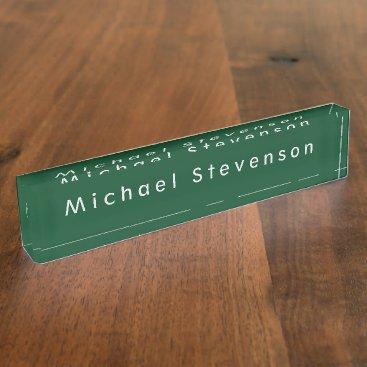 Up Forest Green Elegant Modern Minimalist Design Desk Name Plate
