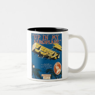 Up In An Aeroplane Vintage Songbook Cover Two-Tone Coffee Mug