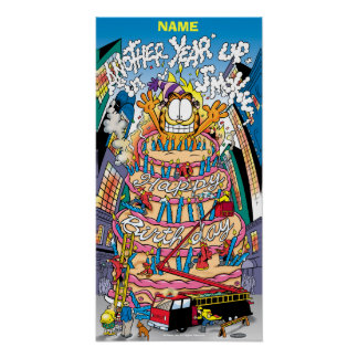 """Up In Smoke"" Garfield Birthday Poster"