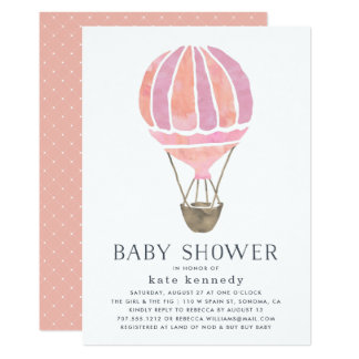 Up in the Air Baby Shower Invitation   Pink
