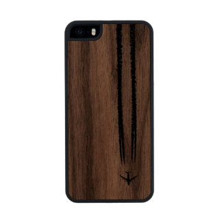 Up in the Sky/High Altitude Airplane Contrail Carved® Walnut iPhone 5 Case