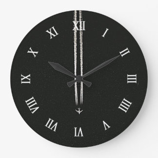Up in the Sky/High Altitude Airplane Contrail Large Clock