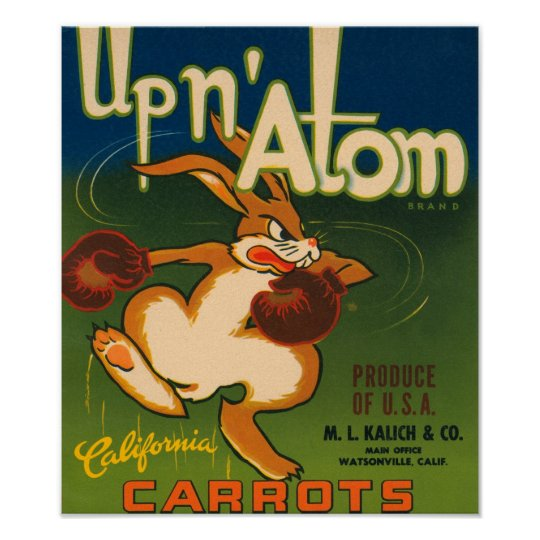 Up N Atom Vintage Crate Label Poster