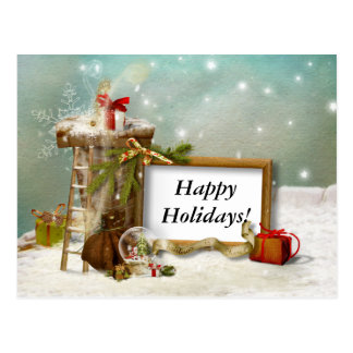 Up on the Rooftop - Happy Holidays Postcard