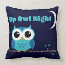 Up Owl Night Throw Pillow