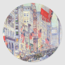 Up the Avenue from 34th Street by Childe Hassam Classic Round Sticker