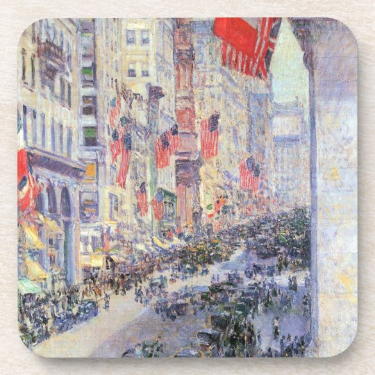 Up the Avenue from 34th Street by Childe Hassam Coaster