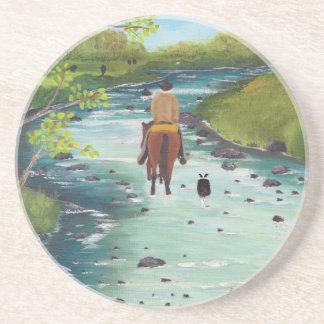 Up the Creek ~ Australian Shepherd & Cowboy gifts Drink Coaster