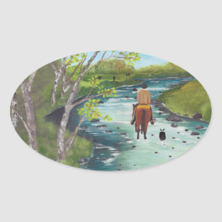 Up the Creek ~ Australian Shepherd & Cowboy gifts Oval Sticker