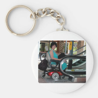 UP THE DOWN ESCALATOR IN A POWERCHAIR KEYCHAIN