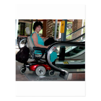 UP THE DOWN ESCALATOR IN A POWERCHAIR POSTCARD