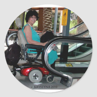 UP THE DOWN ESCALATOR IN A POWERCHAIR CLASSIC ROUND STICKER