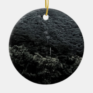Up the mountain using cable cars ceramic ornament