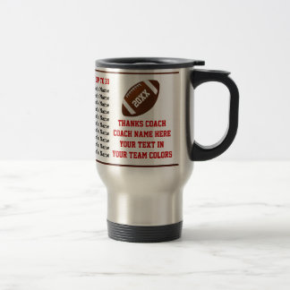 Up to 30 Player's Names, Football Coach Gift Ideas Travel Mug