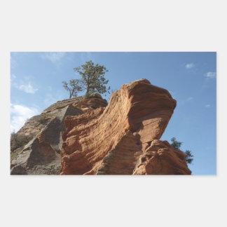 Up to Angels Landing in Zion National Park Rectangular Sticker