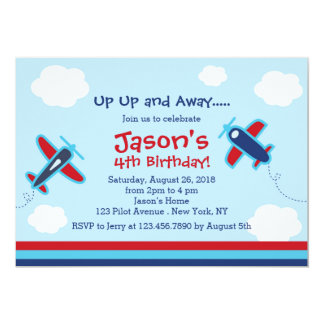 Up UP and Away Aeroplane Birthday Party I Card