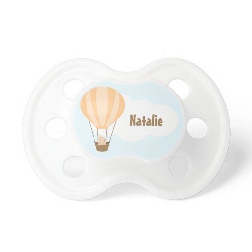 Up, Up and Away! Baby in Balloon {orange} Pacifier