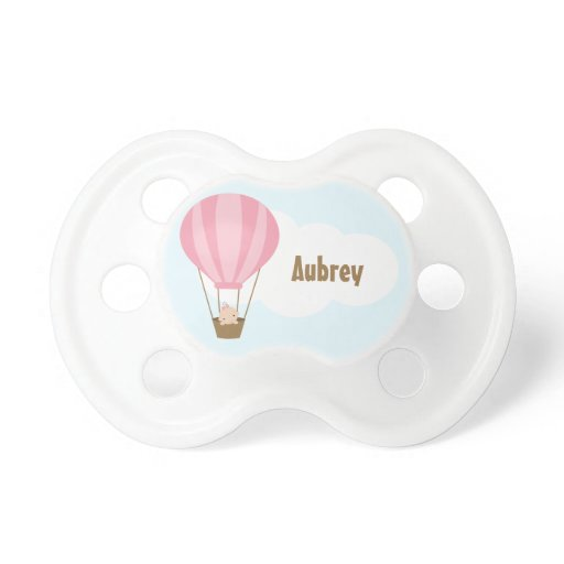 Up, Up and Away! Baby in Balloon {pink} Pacifier