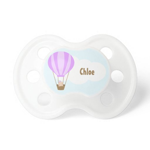 Up, Up and Away! Baby in Lavender Balloon Pacifier